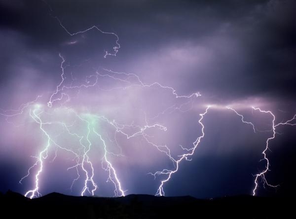 Huge lightning storm over Rocky Mountains Morrison Colorado